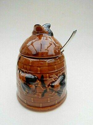 Keramik Honigtopf Bienenkorb mit Bienen und ein versilberter 100 Löffel (Biene Honig Topf)