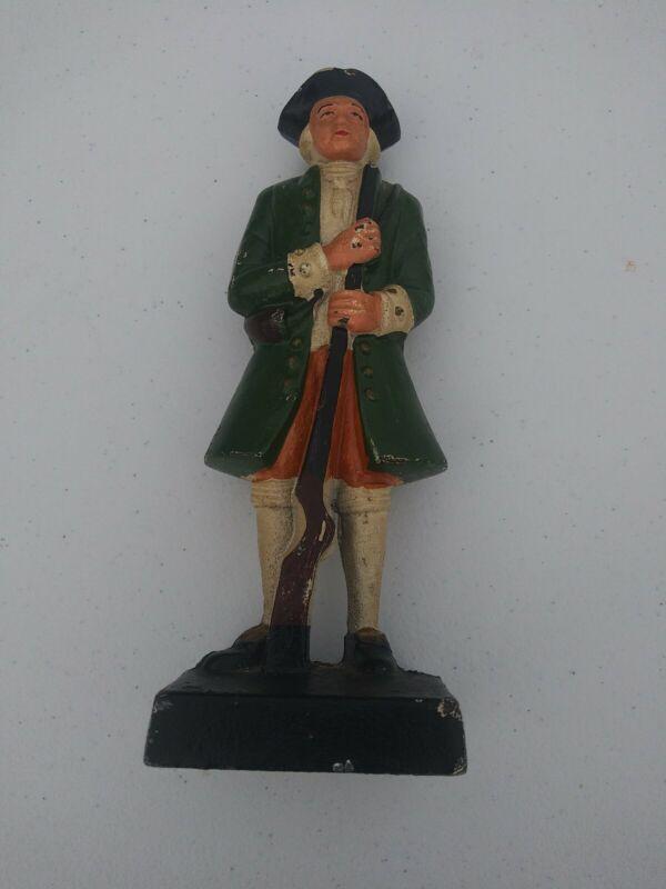 Vintage Cast Iron Minuteman Doorstop Revolutionary War Soldier