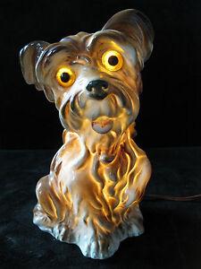 CARL SCHEIDIG Porzellan Rauchverzehrer Terrier Hund Lampe Leuchte / Ref. 9686