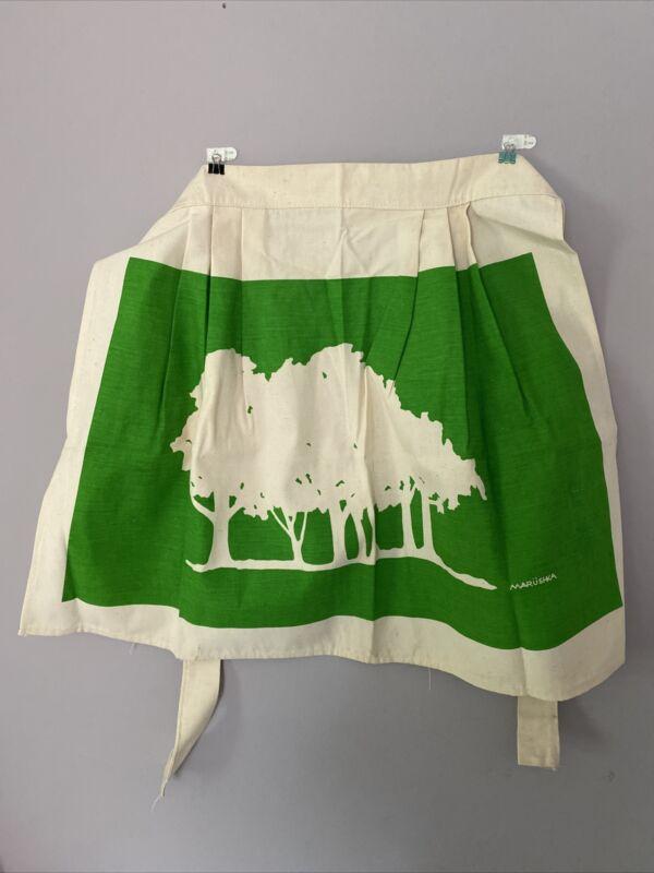 Vintage Marushka Screen Print Apron Trees EUC Textile Art