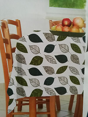 "Tablecloth  Vinyl Oblong Leaves Nature 60"" x 84"" Flannel Back New"