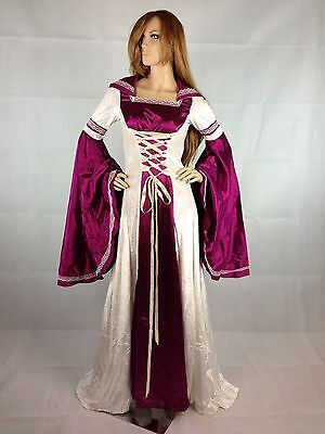 Renaissance Medieval Gothic White Purple Gown Dress Corset Satin Costume S M](White Medieval Gown)