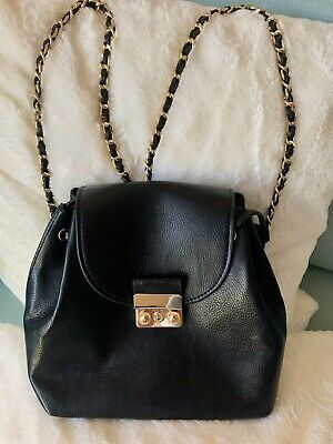 ZARA Beautiful Black Faux Leather Backpack Handbag with Gold Tone Chains