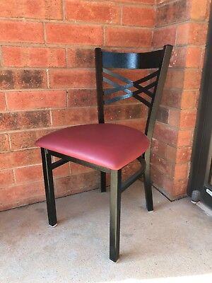 Black X Back Metal Restaurant Chair With Burgundy Vinyl Seat