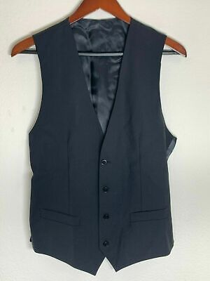 Dolce & Gabbana D&G DG Wool Button Up Vest, Solid Black, 46 EU, 36 US