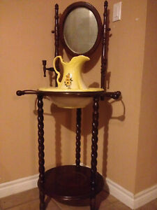 AWESOME antique wash stand with accessories