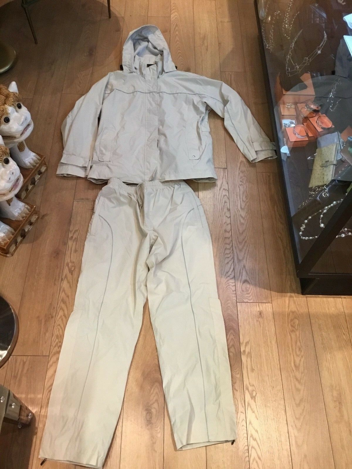 AUTHENTIC SMALL  (2) PIECE BMW BEIGE JACKET & PANTS SUIT MUST SEE NO RESERVE