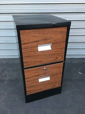 Office File Cabinet Lockable Wood Style 2 Drawer Vertical 29 In Tall