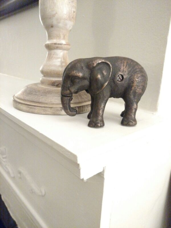 Antique Cast Iron Elephant with its trunk down Still Bank  Circa 1900