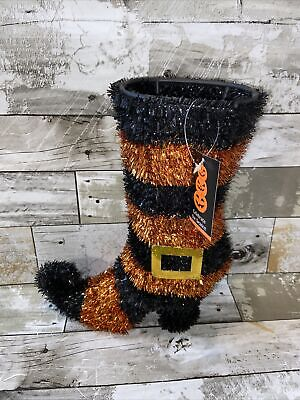 ShopKo Black Orange Tinsel Garland Witch Boot 11in x 4 1/2in NIP