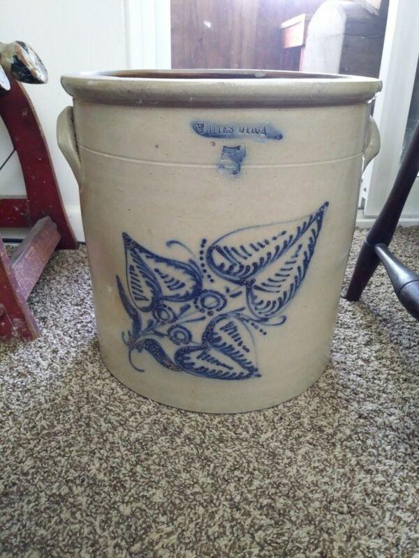 Five Gallon Whites Utica, NY Stoneware Crock w/ Cobalt Blue Decoration (As Is)