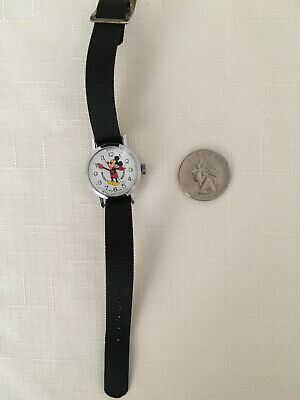 Mickey Mouse BRADLEY SMALL Swiss Watch Red Mitts & 2nd Hand Wind Up Not Working