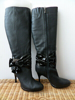 Bourne 'Kelly' Black Long Leather Heeled Boots with Bow Size 4/37