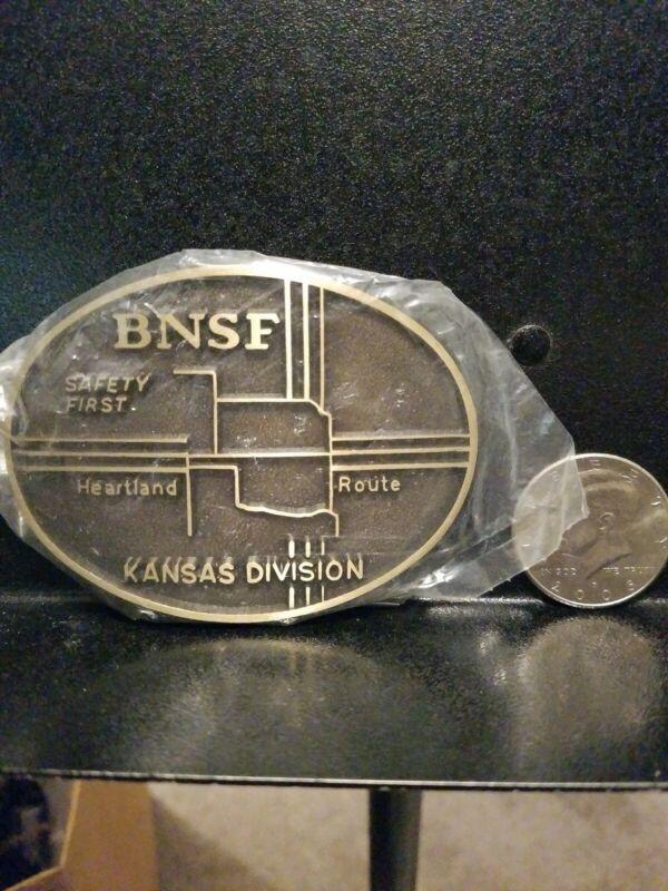 BNSF Burlington Northern Santa Fe railroad Belt Buckle Kansas Division