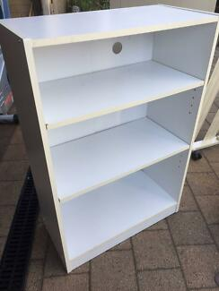 small white bookcase