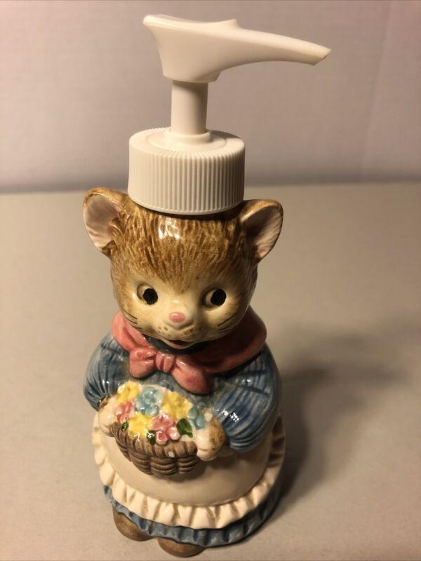 "Otagiri Japan Cat Soap Dispenser Japan Vintage 6.5"" Mint"