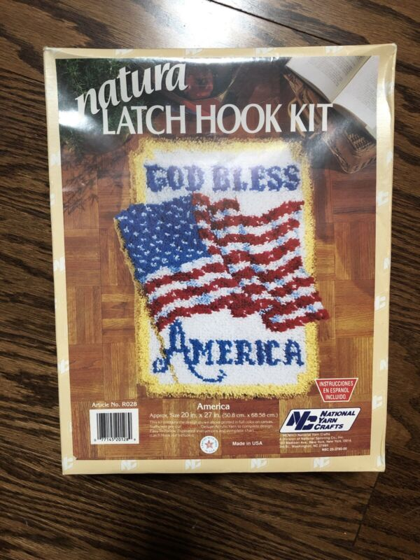 Caron Natura Hook Latch Kit Vintage God Bless America New 20 In X 27 In