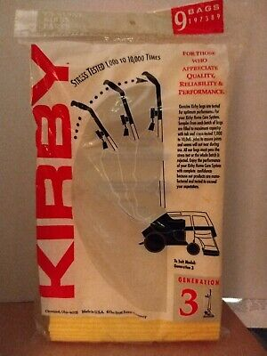 Kirby Factory Vacuum Cleaner Bags 197389 Generation 3 Pack of 9 for sale  Shipping to India
