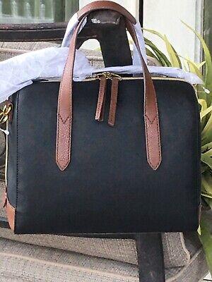 FOSSIL SYDNEY SATCHEL SHOULDER BAG BLACK MULTI NEW $138