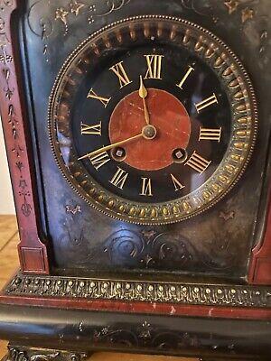 antique gilt ornate marble mantle clock