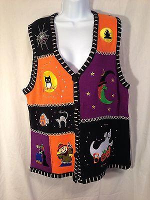 Halloween Holiday Edition (HOLIDAY EDITION Halloween Sweater Vest Womans Size XL Ghost Witch Pumpkins EUC)