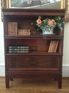 Antique, oak marked Globe Wernicke 3 stack barrister, lawyer bookcase, beautiful