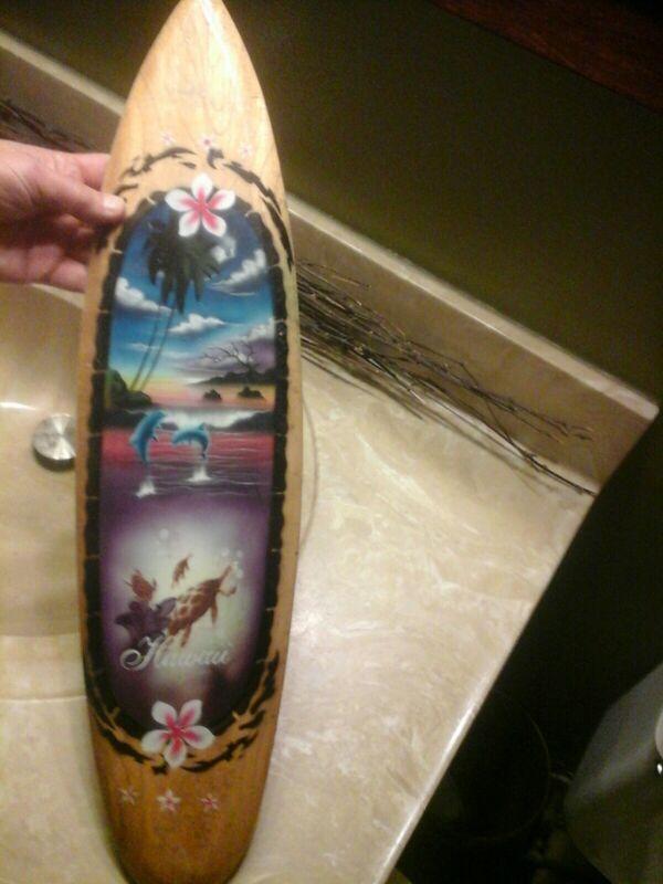 """Hawaiian Wood Mini Surfboard Hawaii Island Home Tiki Luau Decor 23.5 X 6"""" GUC"""