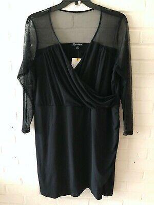 New INC Woman's Mesh Yoke & Sleeves Surplice Dress  Black  2X  -