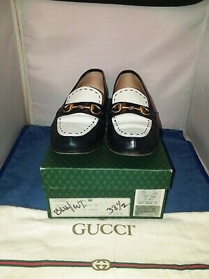 Vintage Gucci Loafers 38.5 B Blue & White Laether w Horsebit Buckles