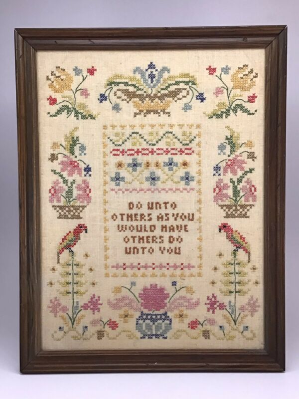 "Embroidered Sampler Framed 17.75"" X 15.75"" Vintage ""Do Unto Others"""