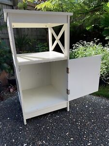 Timber Side Table with Shelf and Cupboard (SOLD PENDING PICK UP)