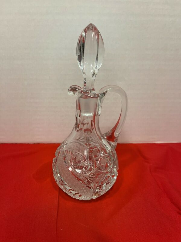 Vintage American Briliant Cut cystal oil Or Vinegar Cruet with stopper