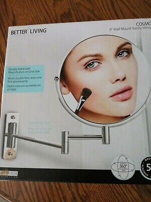 Better Living Cosmo 8 Inch Wall Mount Vanity Magnifying Makeup Mirror, Silver