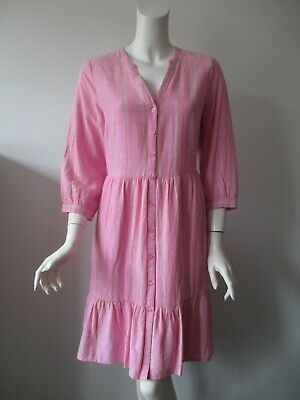 NWT Old Navy Pink Stripe Button Front 3/4 Sleeve Summer Shirt Dress S, M  $36 - Pink Stripe Dress Shirt