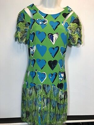 Versace x H&M Dress 8 Heart Scribble Fringe Green Silk 38