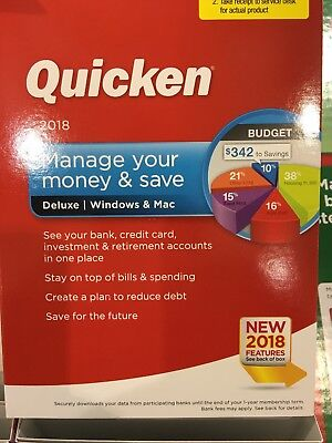 New Quicken 2018Manage Your Money And Save  Deluex For Windows   Mac Sealed