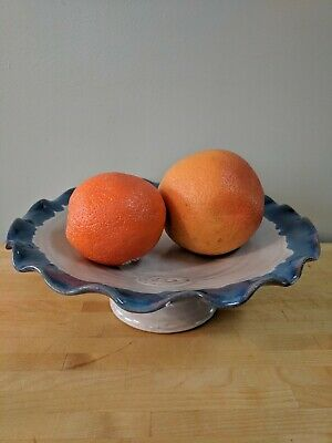 Handmade Ceramic Footed Fruit Bowl Pottery NEW IN BOX