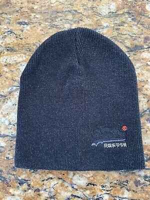 SUPERDRY  Men'S Black Heather Grey Cotton Orange Label Beanie Hat Super Dry