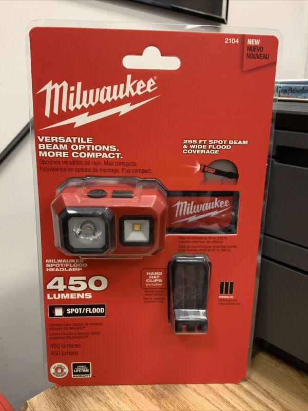New Milwaukee 450 Lumen Spot Flood Headlamp Light (2104) NEW FACTORY SEALED