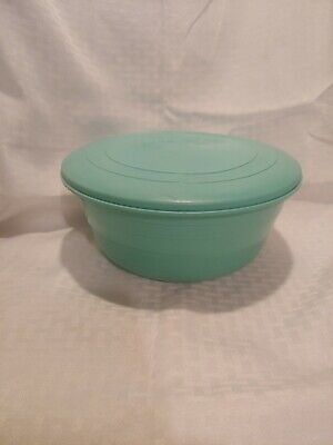 Stanhome Aqua Stanley-Flex Mixing Bowl & Lid Set Plastic Storage Vtg 50s Kitchen