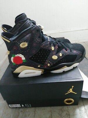 Air Jordan 6 Retro Chinese New Year Black Metallic Gold AA2492 021 Mens Size 8