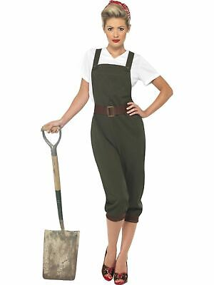 Land Girl Costume 1930s 1940s Ladies Army Fancy Dress Outfit Military World - Land Army Girl Kostüm