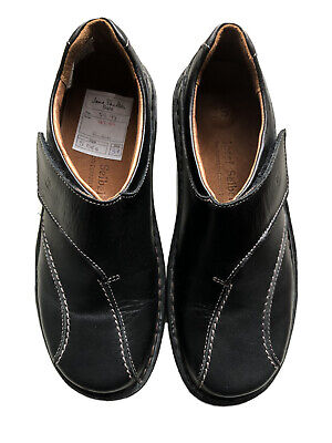 New josef seibel size 4 Black Leather slip on Velcro fastening shoes