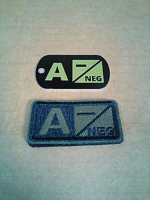 Tactical Blood Type Embroidered Velcro Patch & DOG TAG : A Negative  (A-)