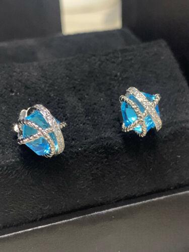 David Yurman faceted sapphire and diamond wrap earrings