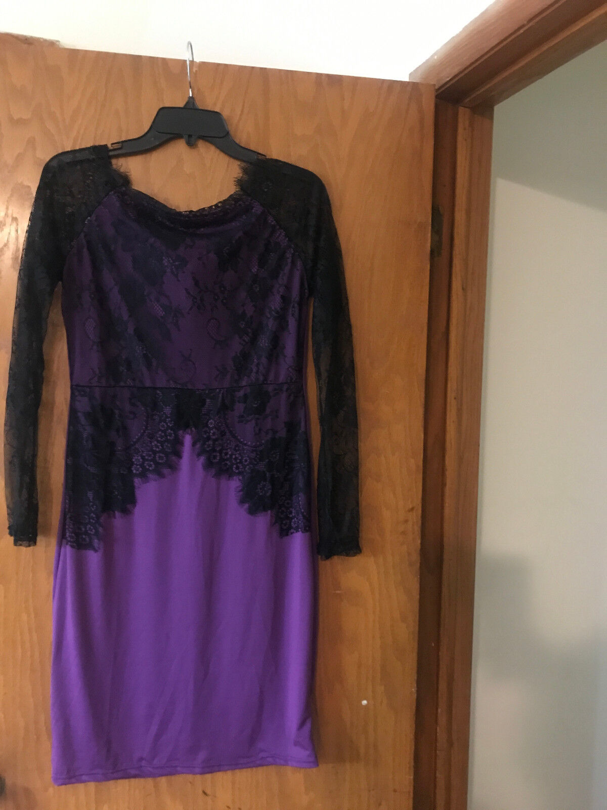 641f1324ced5 Details about Charlotte Russe, Long Sleeve Lace Dress,Round Neck,(C) Black  & Purple,100% Poly.