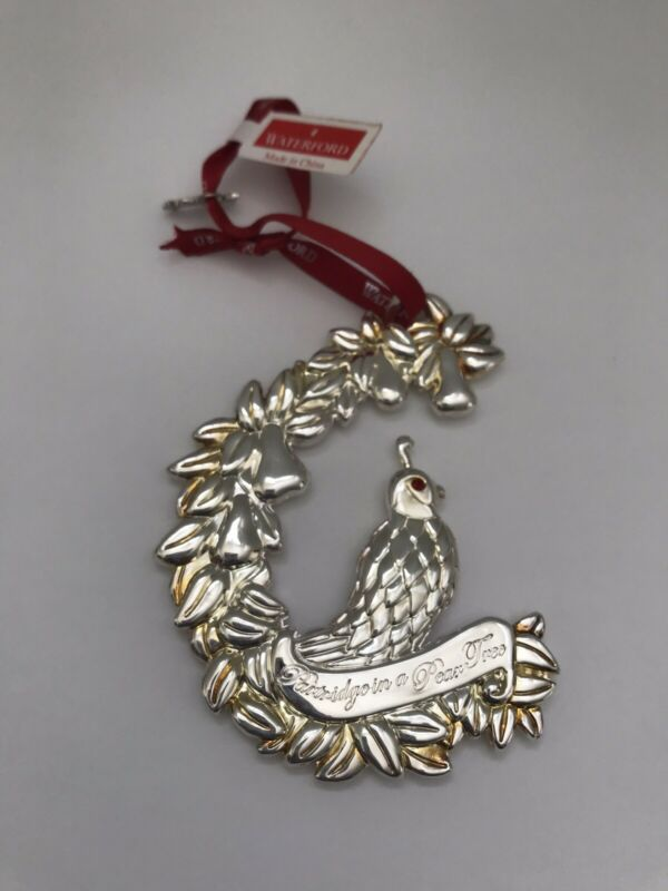 Waterford Silverplate 12 Days Christmas PARTRIDGE PEAR TREE Holiday ORNAMENT EUC