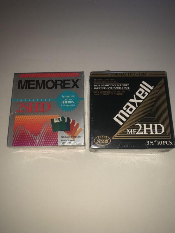 "Lot 2 NEW Sealed 3.5"" Floppy Disks Diskettes 10 Pack IBM Formatted 1.44MB 2HD"