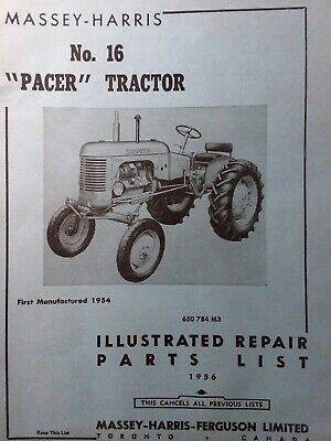 Massey Harris No.16 Pacer Agricultural Farm Tractor Parts Catalog Manual 1956
