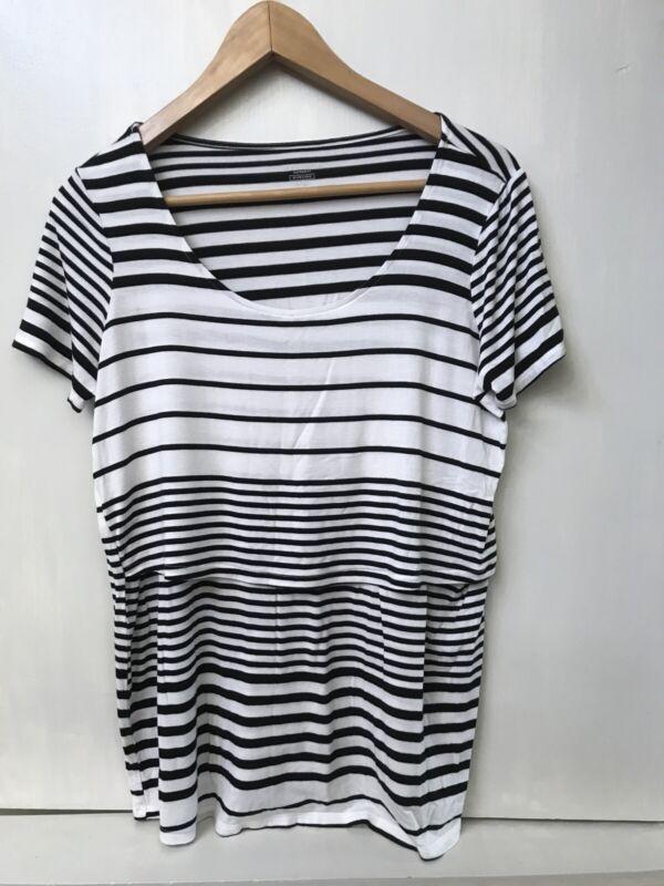 Motherhood maternity Striped Nursing Tee Top Short Sleeve Black White S